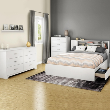Pure White Fusion 4 Piece Bedroom Set - Step One Full/Queen Platform Bed, Fusion Full / Queen Headboard, Double Dresser and 5 Drawer Chest by South Shore - Click to enlarge