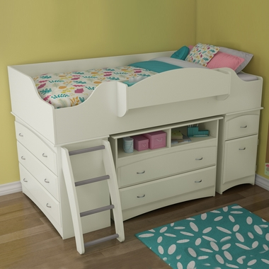 Pure White Imagine 3 Piece Loft Bed by SouthShore - Click to enlarge