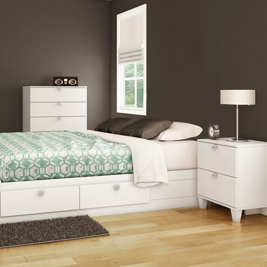 Pure White Karma 3 Piece Bedroom Set - Karma Full Mates Bed, 5 Drawer Chest and Nightstand by South Shore - Click to enlarge