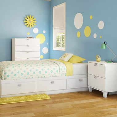 Pure White Karma 3 Piece Bedroom Set - Karma Twin Mates Bed, 5 Drawer Chest and Nightstand by South Shore - Click to enlarge