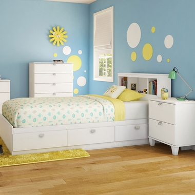 Pure White Karma 4 Piece Bedroom Set - Karma Full Mates Bed, Bookcase Headboard, 5 Drawer Chest and Nightstand by South Shore - Click to enlarge