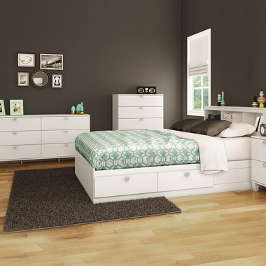 Pure White Karma 4 Piece Bedroom Set - Karma Full Mates Bed, Bookcase Headboard, Double Dresser and 5 Drawer Chest by South Shore - Click to enlarge