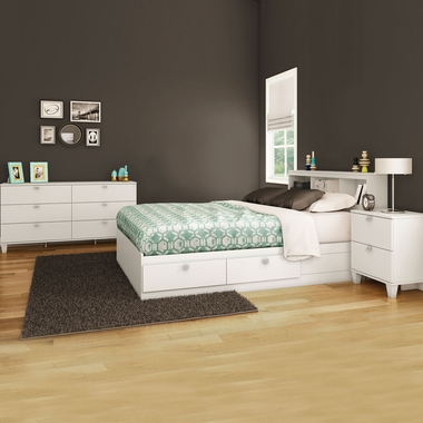 Pure White Karma 4 Piece Bedroom Set - Karma Full Mates Bed, Bookcase Headboard, Double Dresser and Nightstand by South Shore - Click to enlarge