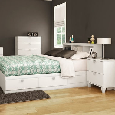Pure White Karma 4 Piece Bedroom Set - Karma Twin Mates Bed, Bookcase Headboard, 5 Drawer Chest and Nightstand by South Shore - Click to enlarge