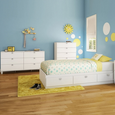 Pure White Karma 4 Piece Bedroom Set - Karma Twin Mates Bed, Bookcase Headboard, Double Dresser and 5 Drawer Chest by South Shore - Click to enlarge
