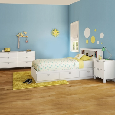 Pure White Karma 4 Piece Bedroom Set - Karma Twin Mates Bed, Bookcase Headboard, Double Dresser and Nightstand by South Shore - Click to enlarge