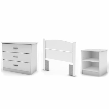 Pure White Libra Twin 3-Piece Bedroom in a Box by South Shore - Click to enlarge