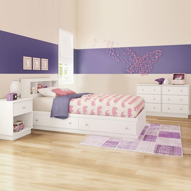 Pure White Litchi 3 Piece Bedroom Set - Litchi Twin Mates Bed, Double Dresser and Nightstand by South Shore - Click to enlarge