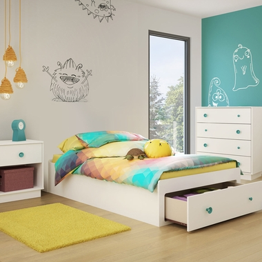 Pure White Little Monsters 3 Piece Bedroom Set - Little Monsters Twin Mates Bed, 4 Drawer Chest and Nightstand by South Shore