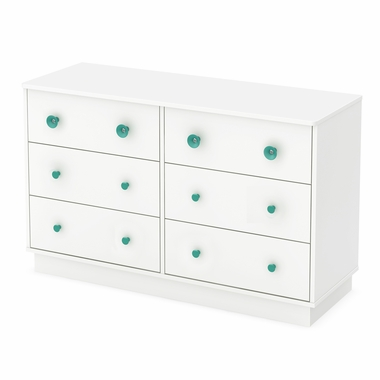 Pure White Little Monsters 6 Drawer Double Dresser by South Shore
