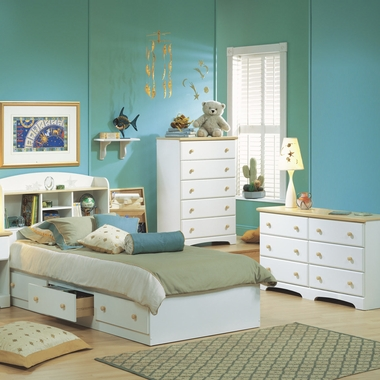 Pure White/Maple Newbury 4 Piece Bedroom Set - Newbury Twin Mates Bed, Bookcase Headboard, Double Dresser and 5 Drawer Chest by South Shore