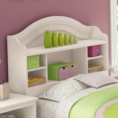 Pure White Savannah Twin Bookcase Headboard by SouthShore