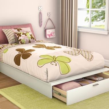 Pure White Step One Twin Platform Bed With Drawer by SouthShore - Click to enlarge