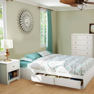 Pure White Vito 3 Piece Bedroom Set - Vito Twin Mates Bed, 5 Drawer Chest and Nightstand by South Shore - Click to enlarge