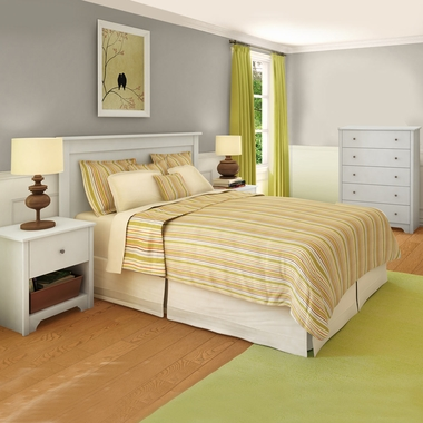 Pure White Vito 4 Piece Bedroom Set - Vito Twin Mates Bed, Headboard, 5 Drawer Chest and Nightstand by South Shore - Click to enlarge