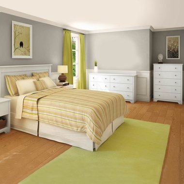 Pure White Vito 4 Piece Bedroom Set - Vito Twin Mates Bed, Headboard, Double Dresser and 5 Drawer Chest by South Shore - Click to enlarge