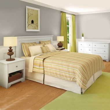 Pure White Vito 4 Piece Bedroom Set - Vito Twin Mates Bed, Headboard, Double Dresser and Nightstand by South Shore - Click to enlarge
