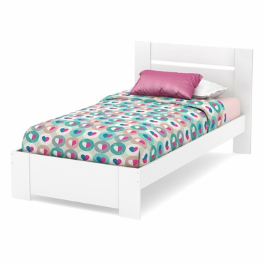 Pure White Reevo Twin Bed Set by South Shore