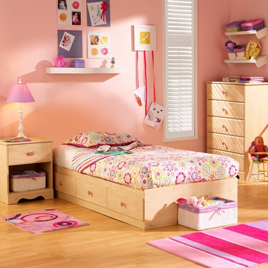Romantic Pine Lily Rose 3 Piece Bedroom Set - Lily Rose Twin Mates Bed, 5 Drawer Chest and Nightstand by South Shore