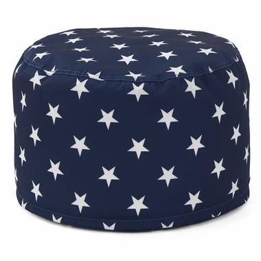 Kidkraft Round Pouf in Navy with White Stars - Click to enlarge