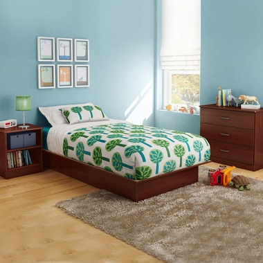 Royal Cherry Libra 3 Piece Bedroom Set - Libra Twin Platform Bed, 3 Drawer Chest and Nightstand by South Shore