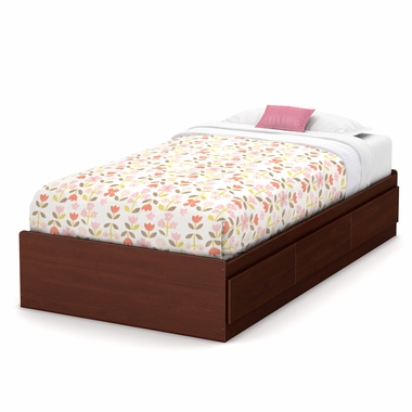 Royal Cherry Little Treasures Twin Mates Bed with 3 Drawers by South Shore - Click to enlarge