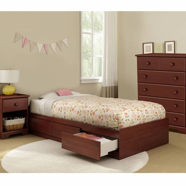 Royal Cherry Summer Breeze 3 Piece Bedroom Set - Summer Breeze Twin Mates Bed, 5 Drawer Chest and Nightstand by South Shore - Click to enlarge