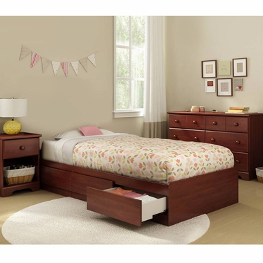 Royal Cherry Summer Breeze 3 Piece Bedroom Set - Summer Breeze Twin Mates Bed, Double Dresser and Nightstand by South Shore - Click to enlarge