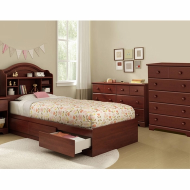 Royal Cherry Summer Breeze 4 Piece Bedroom Set - Summer Breeze Twin Mates Bed, Headboard, Double Dresser and 5 Drawer Chest by South Shore - Click to enlarge