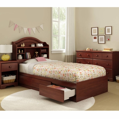 Royal Cherry Summer Breeze 4 Piece Bedroom Set - Summer Breeze Twin Mates Bed, Headboard, Double Dresser and Nightstand by South Shore - Click to enlarge