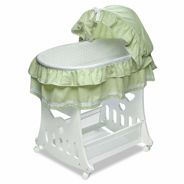 Sage Toybox Bassinet Waffle Ruffled by Badger Basket - Click to enlarge
