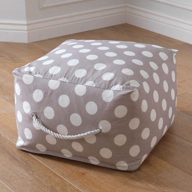 Kidkraft Square Pouf with White Polka Dots in Gray - Click to enlarge