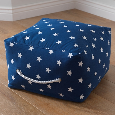 Kidkraft Square Pouf with White Stars in Navy - Click to enlarge