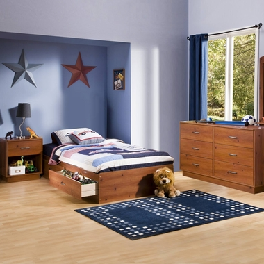 Sunny Pine Logik 3 Piece Bedroom Set - Logik Twin Mates Bed, Double Dresser and Nightstand by South Shore - Click to enlarge