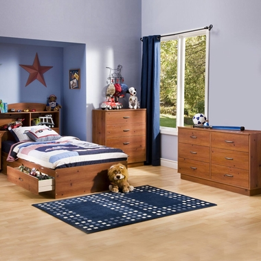 Sunny Pine Logik 4 Piece Bedroom Set - Logik Twin Mates Bed, Headboard, Double Dresser and 4 Drawer Chest by South Shore - Click to enlarge