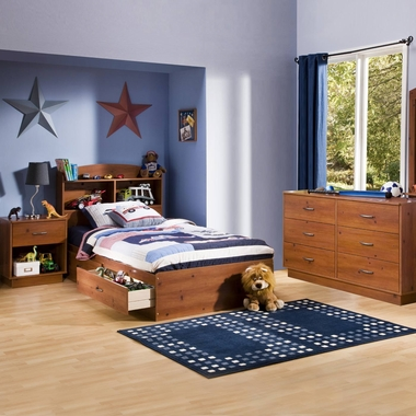 Sunny Pine Logik 4 Piece Bedroom Set - Logik Twin Mates Bed, Headboard, Double Dresser and Nightstand by South Shore - Click to enlarge