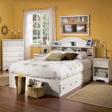 Vanilla Cream Summer Breeze 4 Piece Bedroom Set - Summer Breeze Full Mates Bed, Bookcase Headboard, 5 Drawer Chest and Nightstand by South Shore