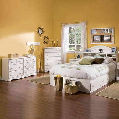 Vanilla Cream Summer Breeze 4 Piece Bedroom Set - Summer Breeze Full Mates Bed, Bookcase Headboard, Double Dresser and 5 Drawer Chest by South Shore