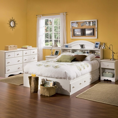 Vanilla Cream Summer Breeze 4 Piece Bedroom Set - Summer Breeze Full Mates Bed, Bookcase Headboard, Double Dresser and Nightstand by South Shore