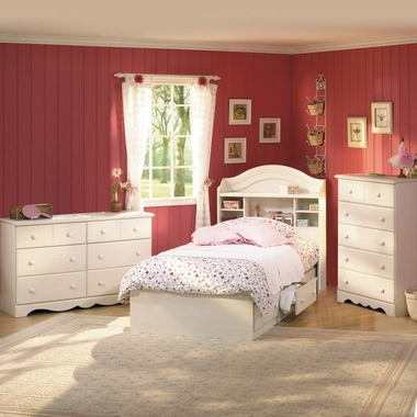 Vanilla Cream Summer Breeze 4 Piece Bedroom Set - Summer Breeze Twin Mates Bed, Bookcase Headboard, Double Dresser and 5 Drawer Chest by South Shore