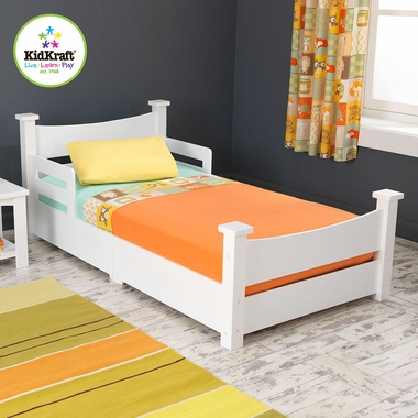 White Addison Wooden Toddler Bed by KidKraft - Click to enlarge