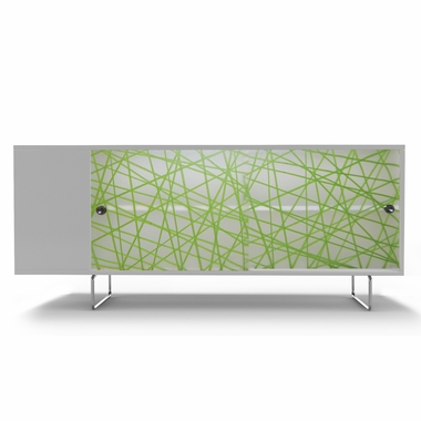 White Alto Credenza with Sliding Panels and Green Strands by Spot On Square - Click to enlarge