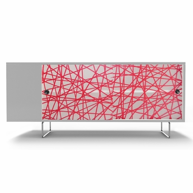 White Alto Credenza with Sliding Panels and Red Strands by Spot On Square - Click to enlarge