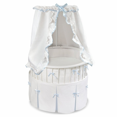 White Elite Oval Baby Bassinet with White Waffle and Blue Pleat Bedding by Badger Basket