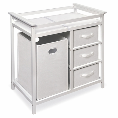White Modern Changing Table with 3 Baskets & Hamper by Badger Basket - Click to enlarge
