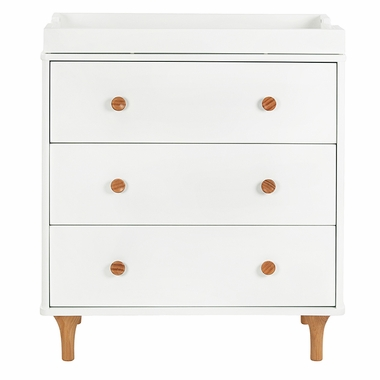 White/Natural Lolly 3 Drawer Dresser Changer w/ Removable Changing Tray by Babyletto