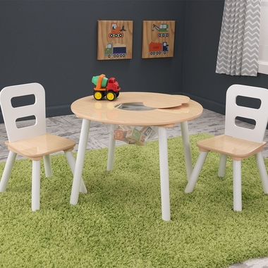White/Natural Round 3 Piece Table and Chair Set by KidKraft