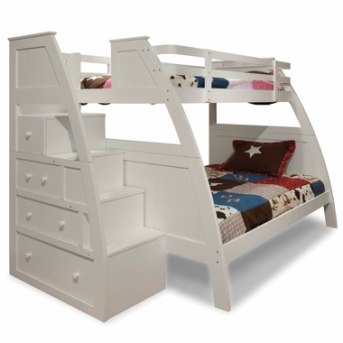 Overland Twin Over Full Bunk Bed With Built In Stairs And