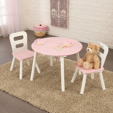 Pink Round Table.White Pink Round Storage Table Chair Set By Kidkraft