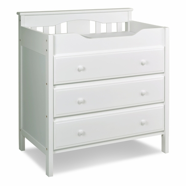 Roxanne 3 Drawer Changing Table In White In White M5925W By DaVinci Changin